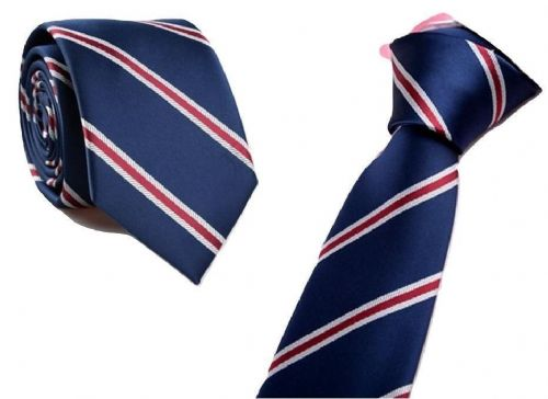 Men's Skinny Navy Blue and Red Striped Patterned Handmade Tie King's men